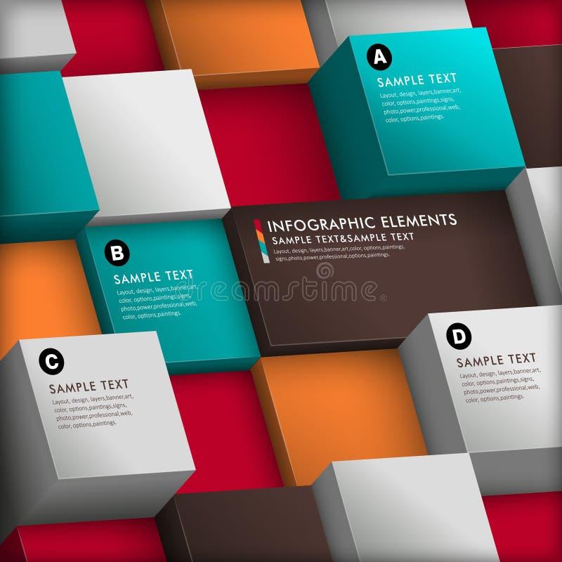 Infographics abstracto del cubo 3d stock de ilustración