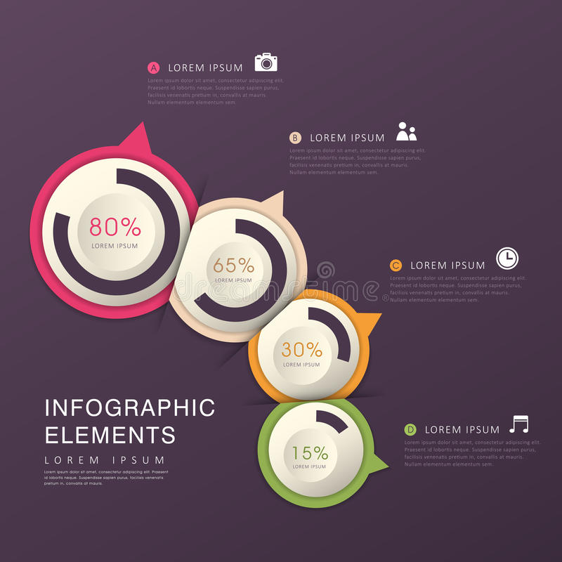 Infographics abstracto del gráfico de sectores stock de ilustración