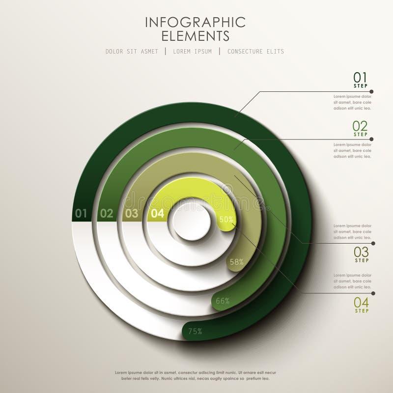 Infographics abstracto del gráfico de sectores 3d ilustración del vector