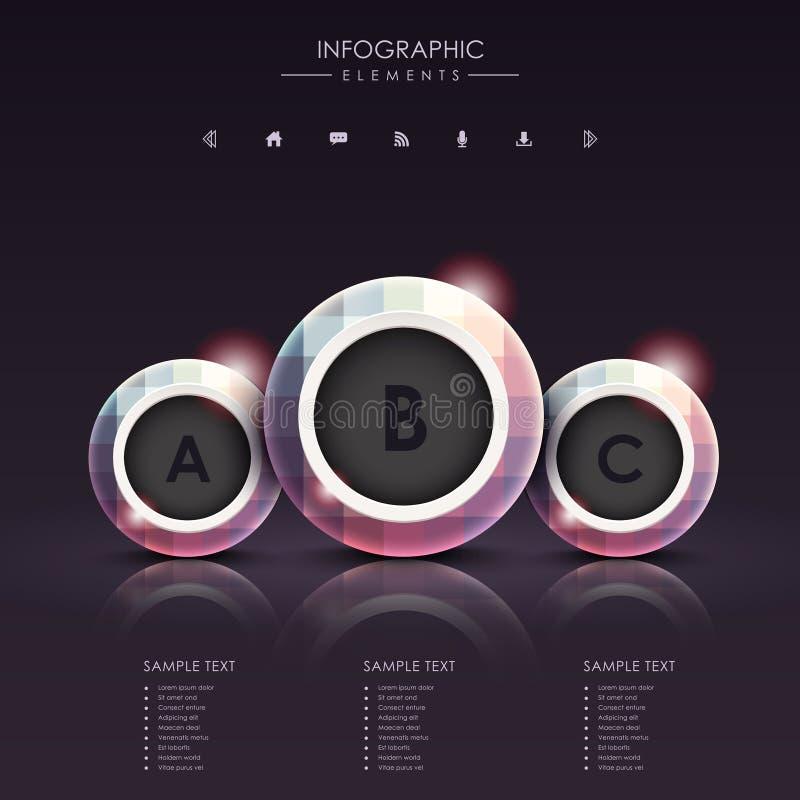 Infographics abstracto del metal del círculo 3d ilustración del vector