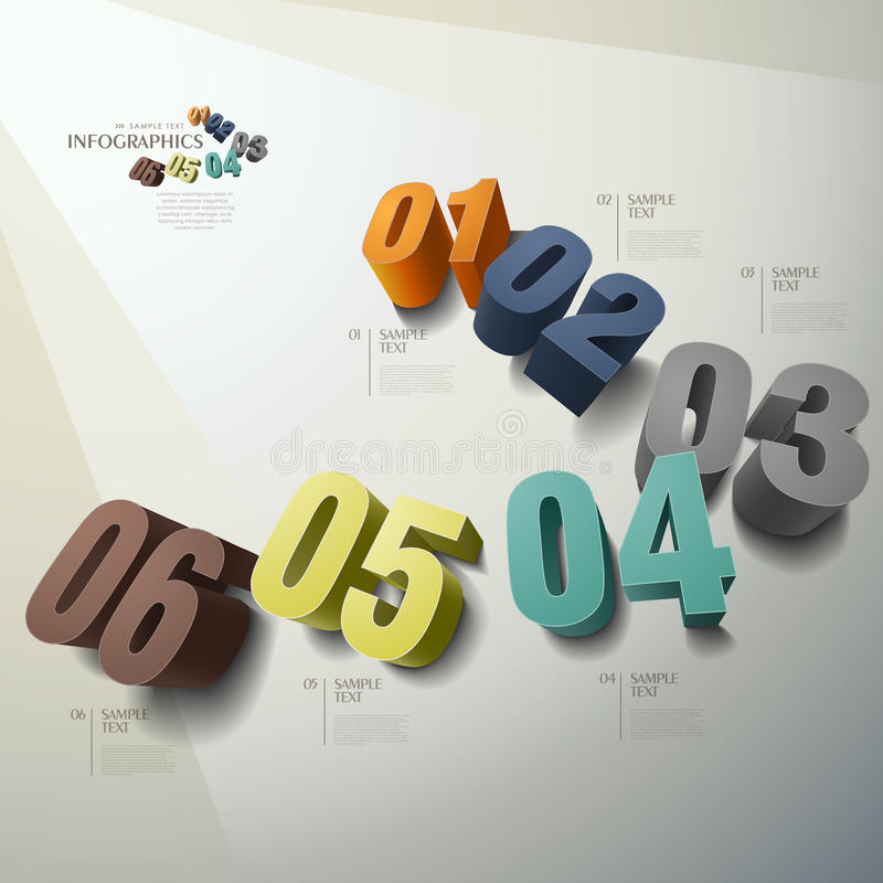 Infographics abstracto del número 3d del vector libre illustration
