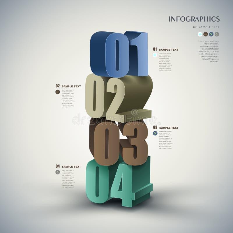 Infographics abstracto del número 3d del vector stock de ilustración