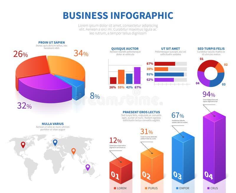 Infographics abstracto del negocio con el carbón de leña de la información de la empanada 3d y la barra del gráfico stock de ilustración