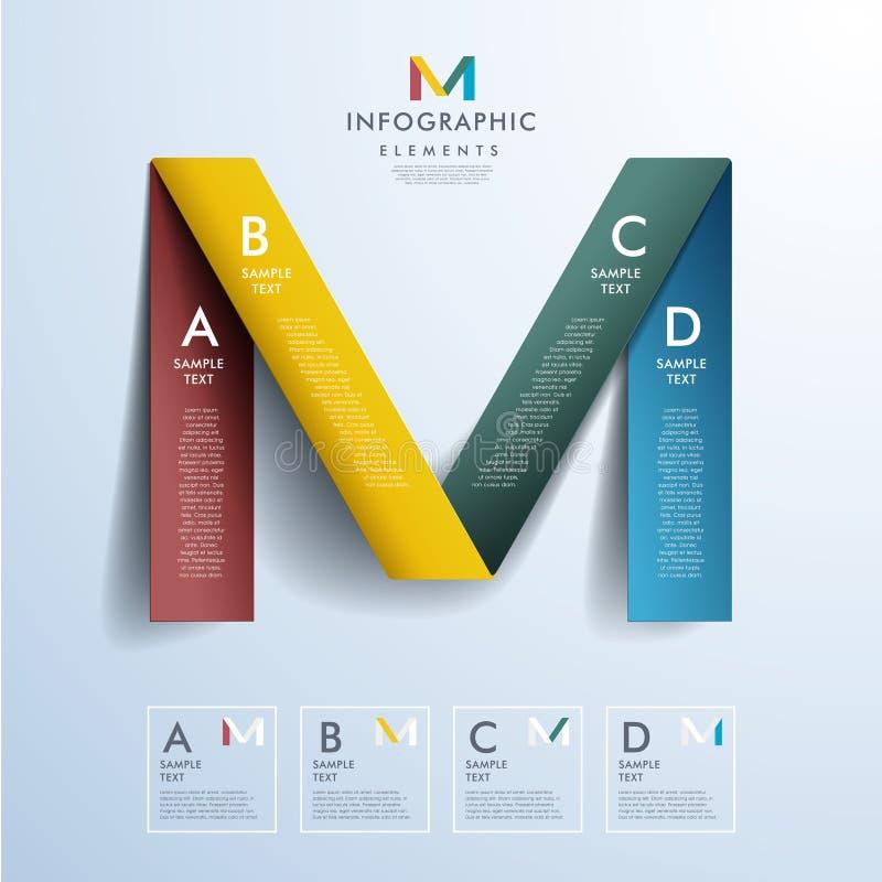 Infographics abstracto del papel 3d ilustración del vector