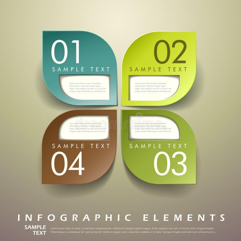 Infographics abstrait d'étiquette de la feuille 3d illustration stock