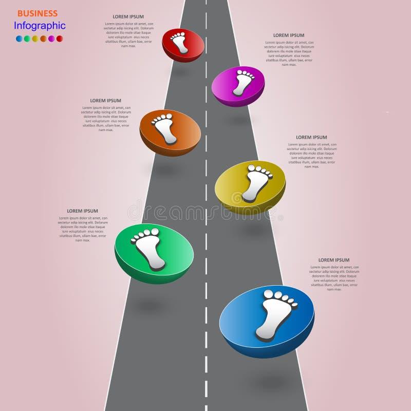Infographics abstrait d'affaires sous forme de chiffres et d'étapes colorés ENV 10 illustration de vecteur