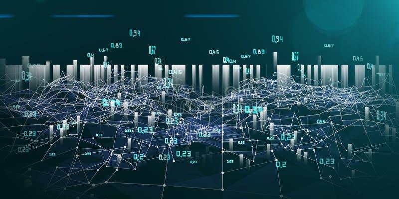 Infographics abstrait d'analyse Maille lumineuse de la rangée de données Grand concept de donn?es illustration libre de droits