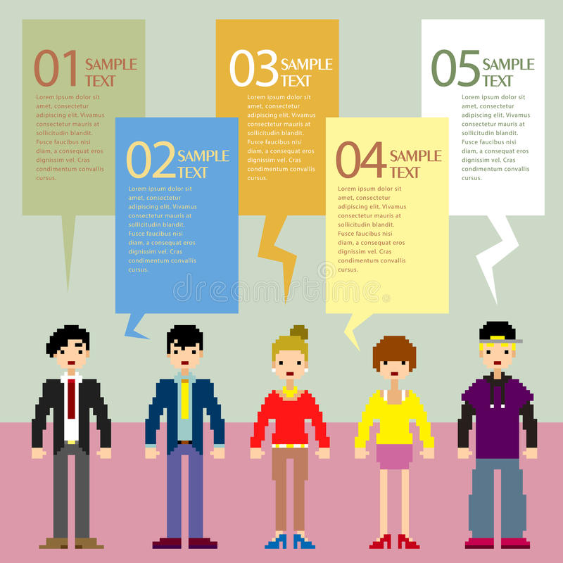Infographics abstrait de personnes de pixel illustration stock