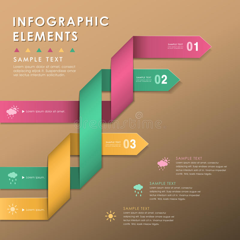 Infographics abstrait de ruban d'origami illustration libre de droits