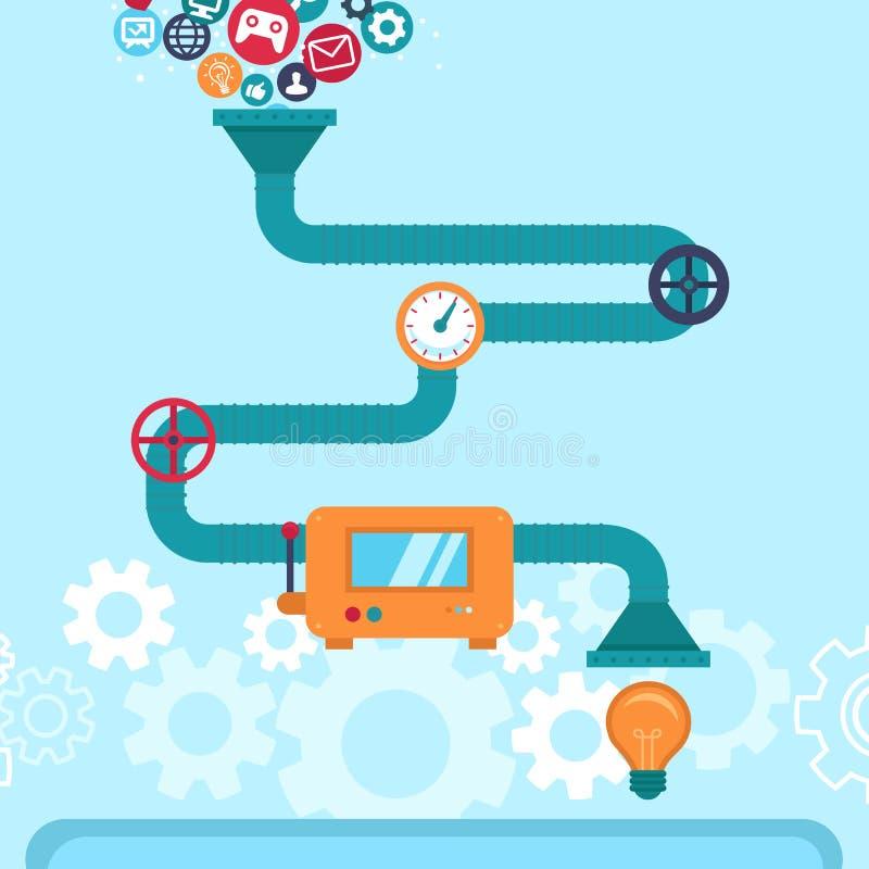 Infographics abstrait de vecteur dans le style plat illustration stock