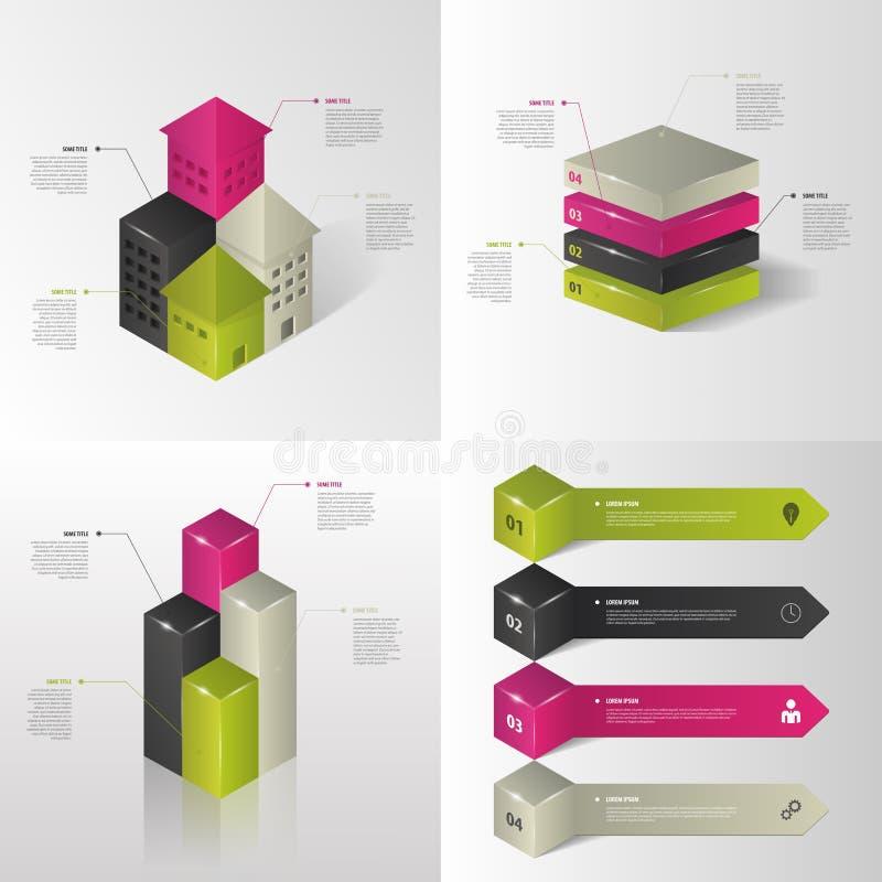 Infographics Abstrakt uppsättning Begrepp vektor stock illustrationer
