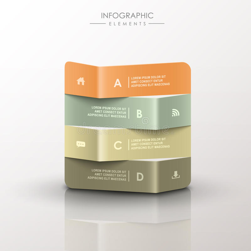 Infographics abstrato da bandeira do origâmi 3d ilustração stock