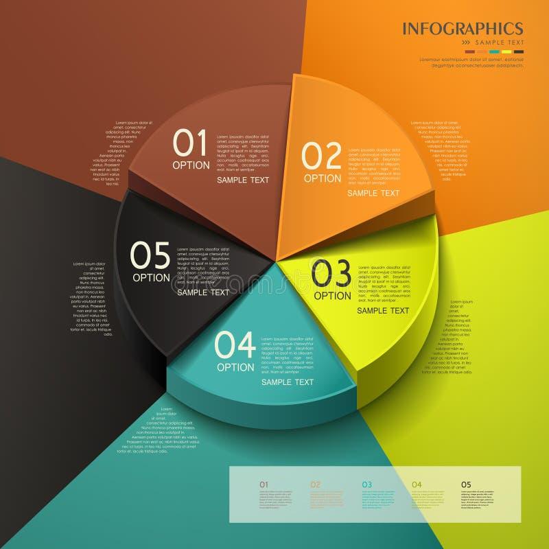 Infographics abstrato da carta de torta 3d ilustração do vetor