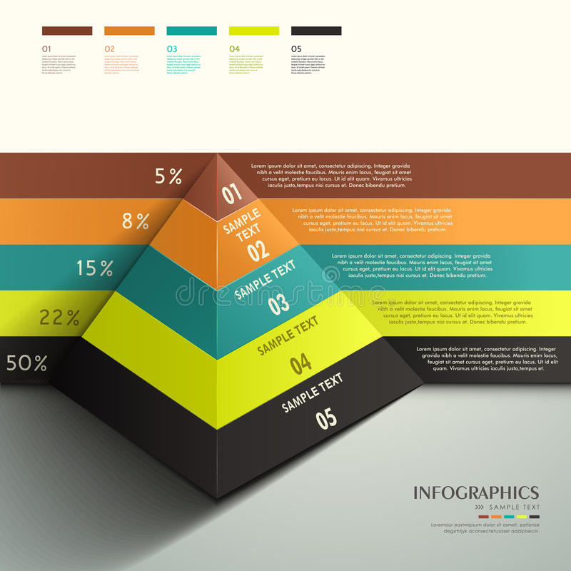 Infographics abstrato da pirâmide 3d