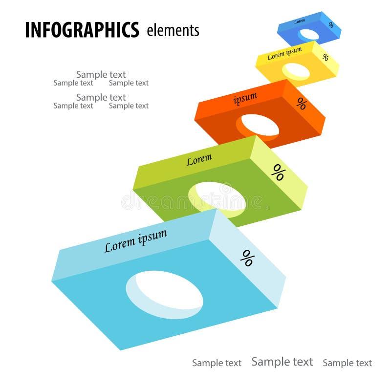 Infographics abstrato do negócio com horiz cinco 3D colorido claro ilustração royalty free
