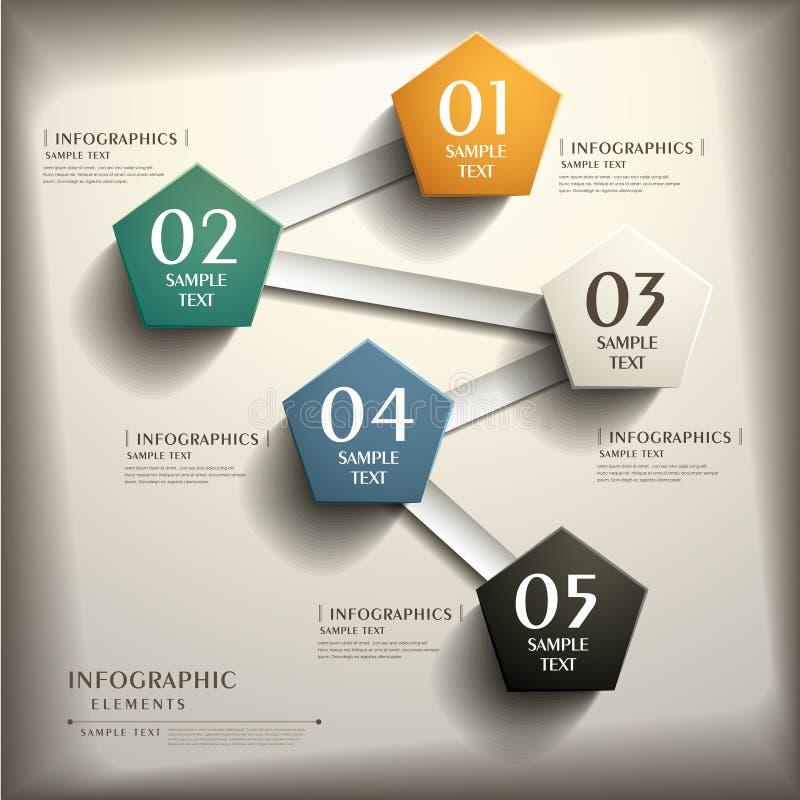 Infographics abstrato do papel 3d ilustração do vetor