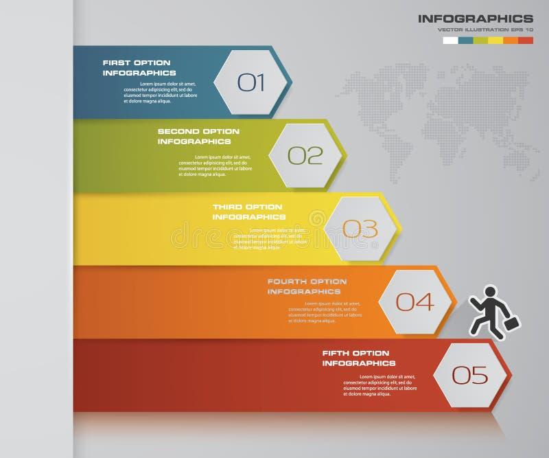 Infographics abstrato 5 elementos do projeto da bandeira das etapas molde da disposição de 5 etapas ilustração do vetor