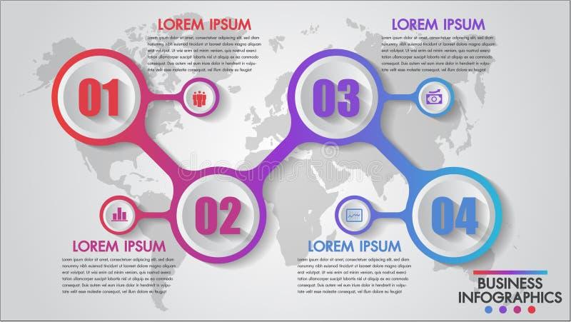 Infographics affär 4 kliver begreppsmallen, utbildning, rengöringsdukdesignen, baner, broschyrer, nummeralternativ, diagrammet, r royaltyfria bilder