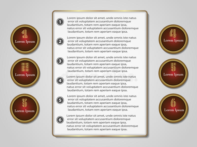 Infographics ajustou seis opções para o projeto e o local ilustração royalty free