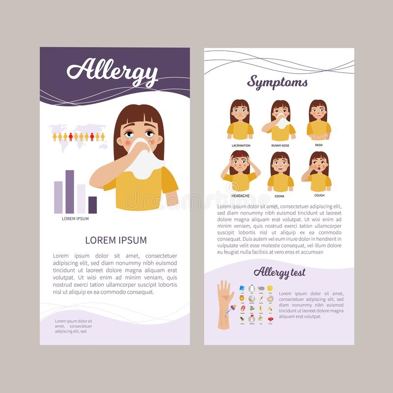 Allergy infographic. Infographics of allergy. Statistics, causes, treatment of the disease. Illustration of a cute sad girl. Concept flyer stock illustration