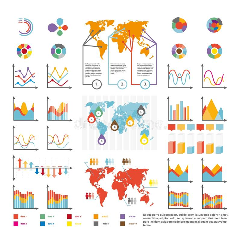 Infographics and analytics diagram and charts vector template icons. Infographics statistics and analytics icons temlate. Vector diagrams and growth charts stock illustration
