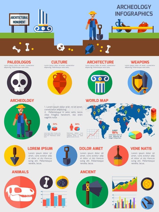 Infographics arqueológico con los elementos de ilustración del vector