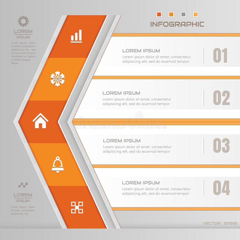 Infographics Arrow design template with business icons, process stock illustration