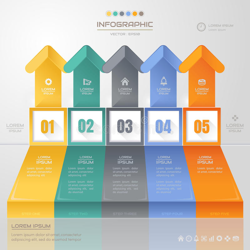 Infographics Arrow design template with icons, process, royalty free illustration