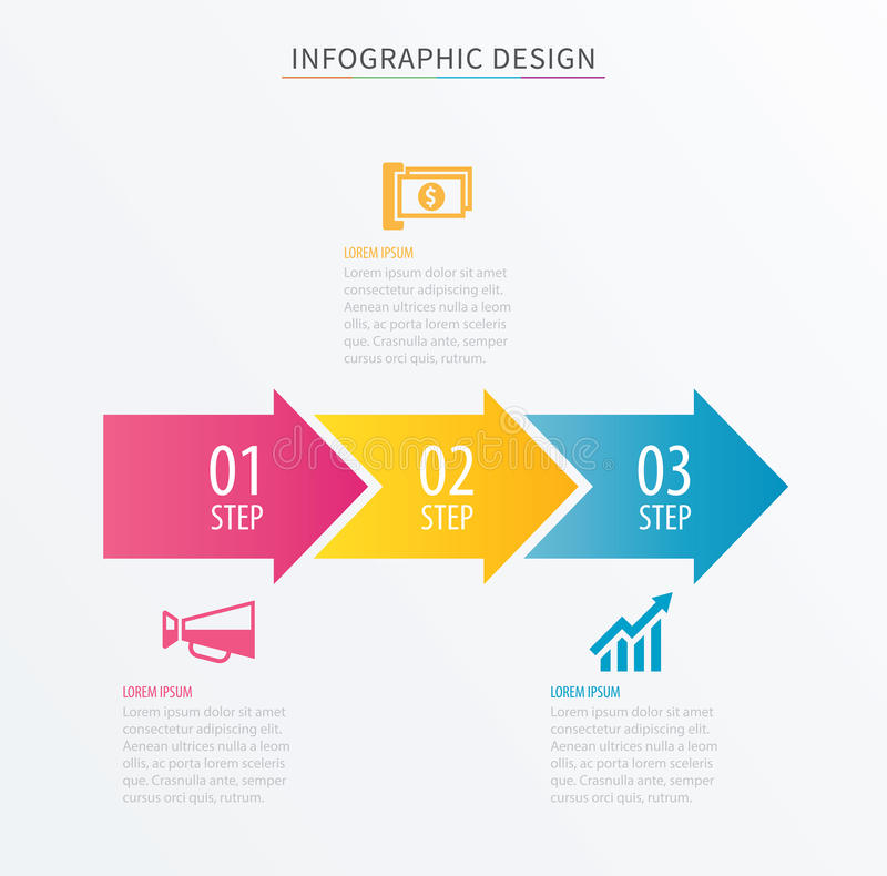 Infographics Arrow Number  Step Template Vector Process Chart