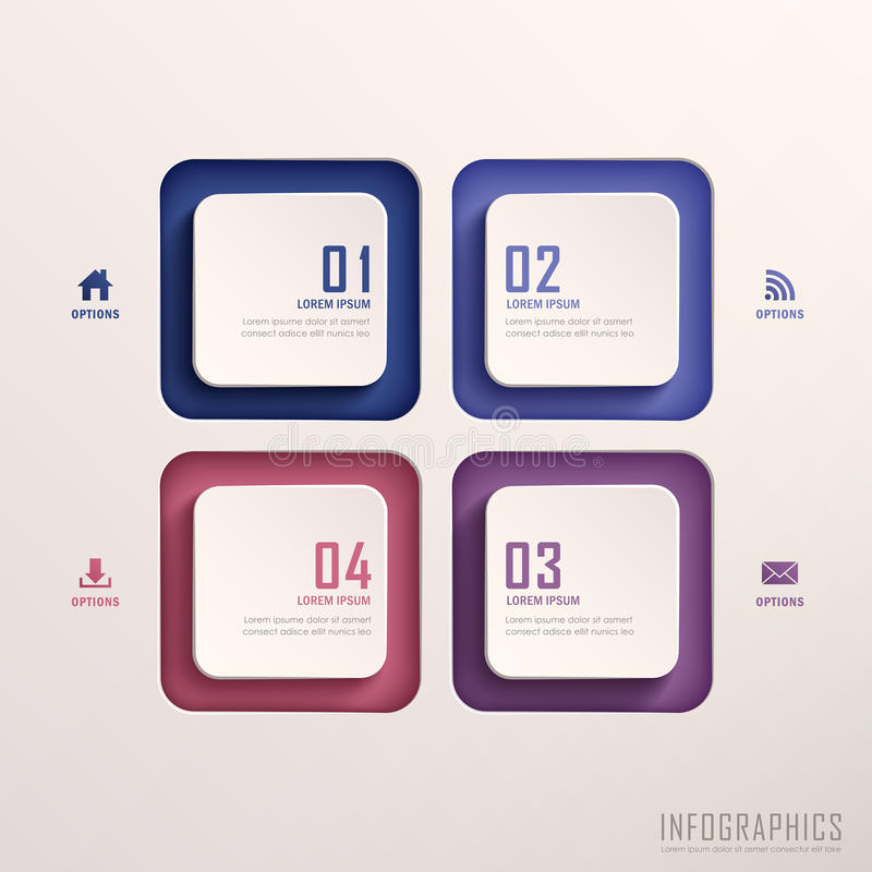 Infographics astratto dell'etichetta 3d illustrazione vettoriale