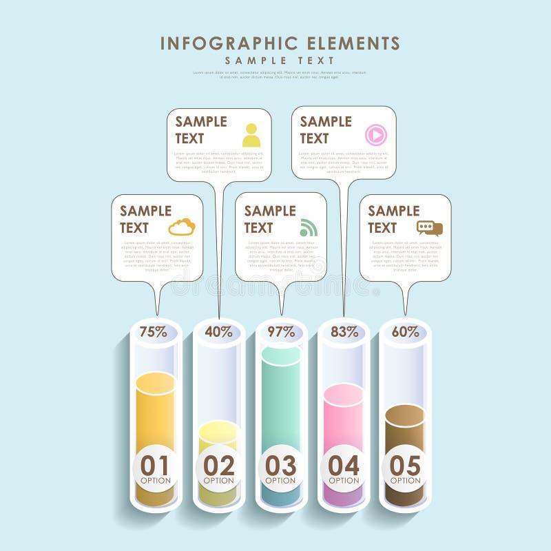 Infographics astratto dell'istogramma del tubo 3d royalty illustrazione gratis