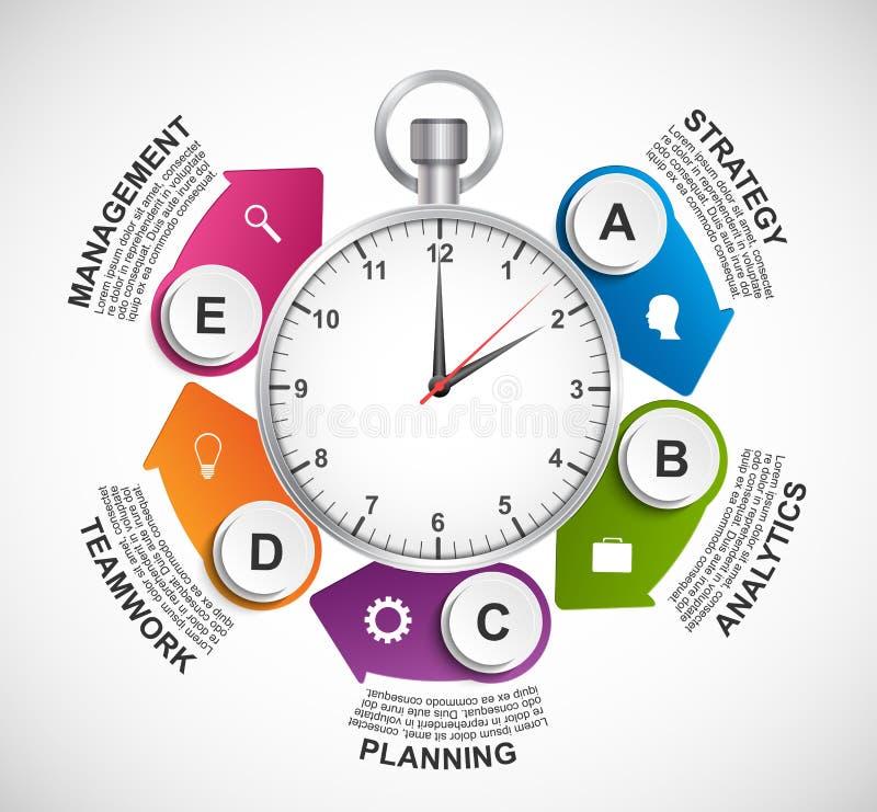 Infographics Auslegungschablone Stoppuhr mit einem Kreispfeil und der Uhr nach innen vektor abbildung