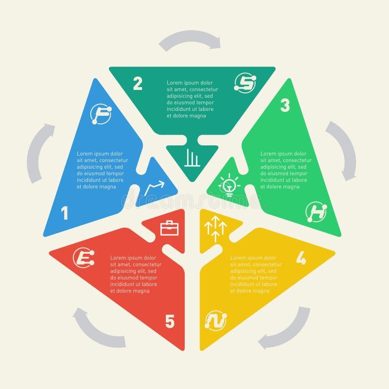 Infographics av affärsidéen med 5 alternativ, moment eller proces royaltyfri illustrationer