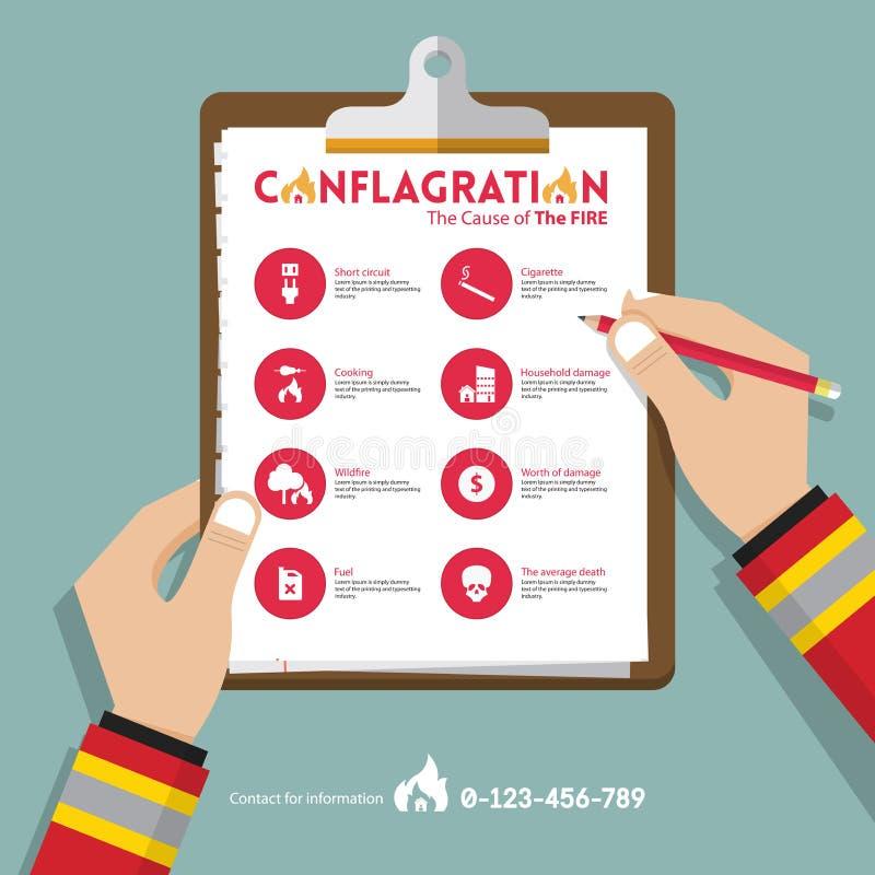 Infographics av brandkatastrofrapportdata i plan design Symbolsuppsättning för egenskaps- eller fastighetförsäkring vektor royaltyfri illustrationer
