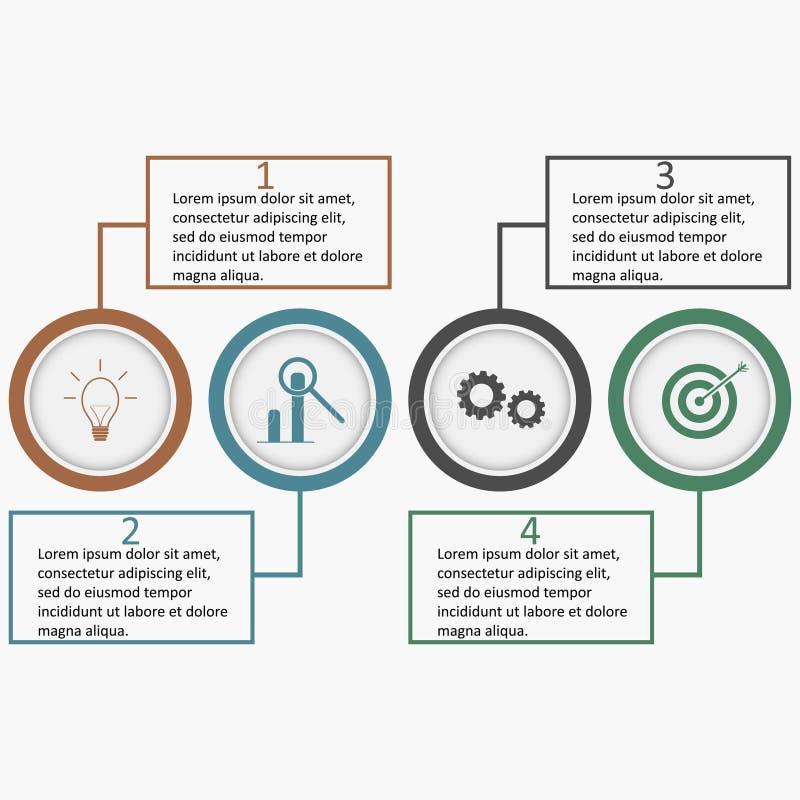 Infographics avec des cercles et des places linéaires Descripteur d'affaires illustration stock