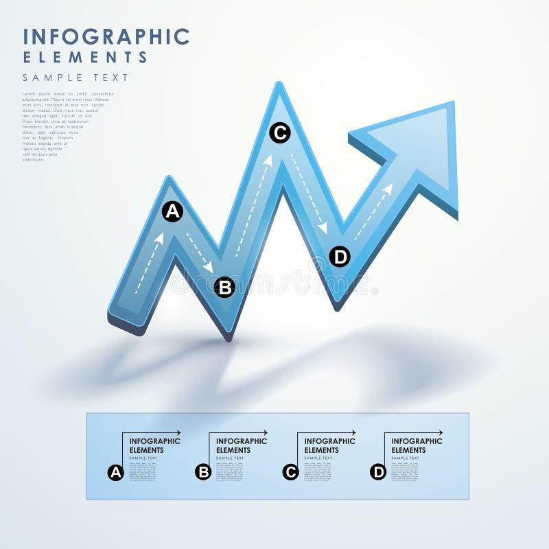 Infographics azul abstracto del organigrama de la flecha ilustración del vector