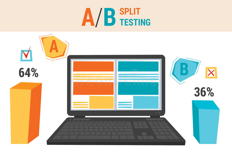 Infographics of A B split testing stock illustration