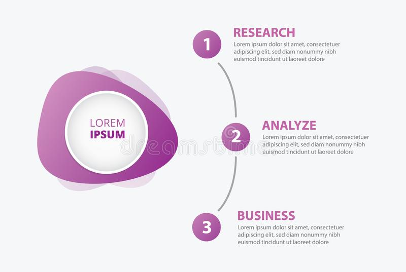 Infographics banner circle with 3 step process on right with purple color - vector stock illustration
