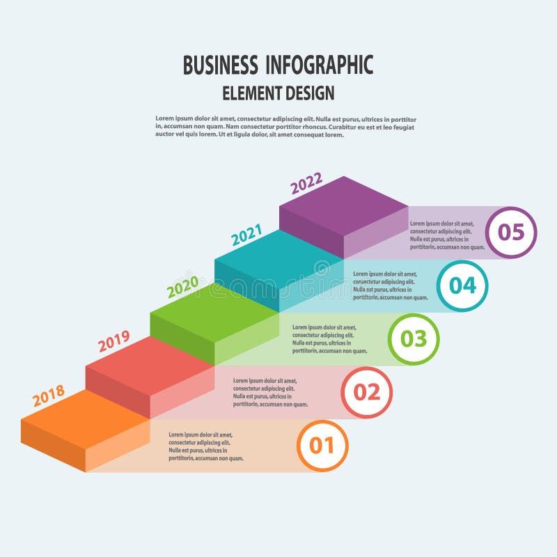 Infographics bedrijfsmalplaatje met pijlstappen voor Presentatie stock illustratie