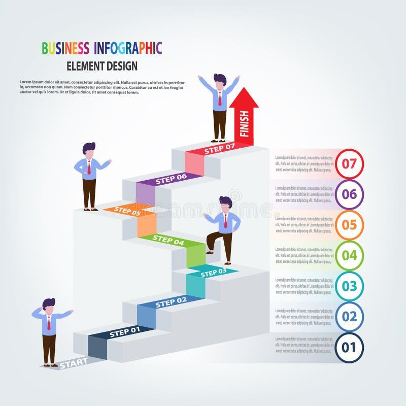 Infographics bedrijfsmalplaatjetreden met pijlstappen voor Presentatie, Verkoopvoorspelling, Verbetering, stap voor stap stock illustratie