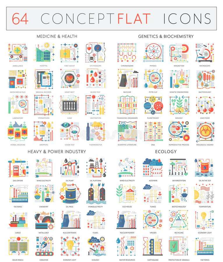 Infographics begreppssymboler av medicinhälsa, genetikbiokemi, tung maktbransch och ekologi högvärdig kvalitet stock illustrationer