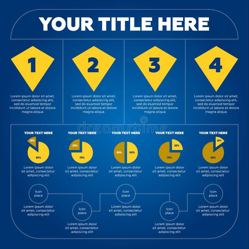 Infographics beståndsdelar - pajdiagram, 4 moment stock illustrationer