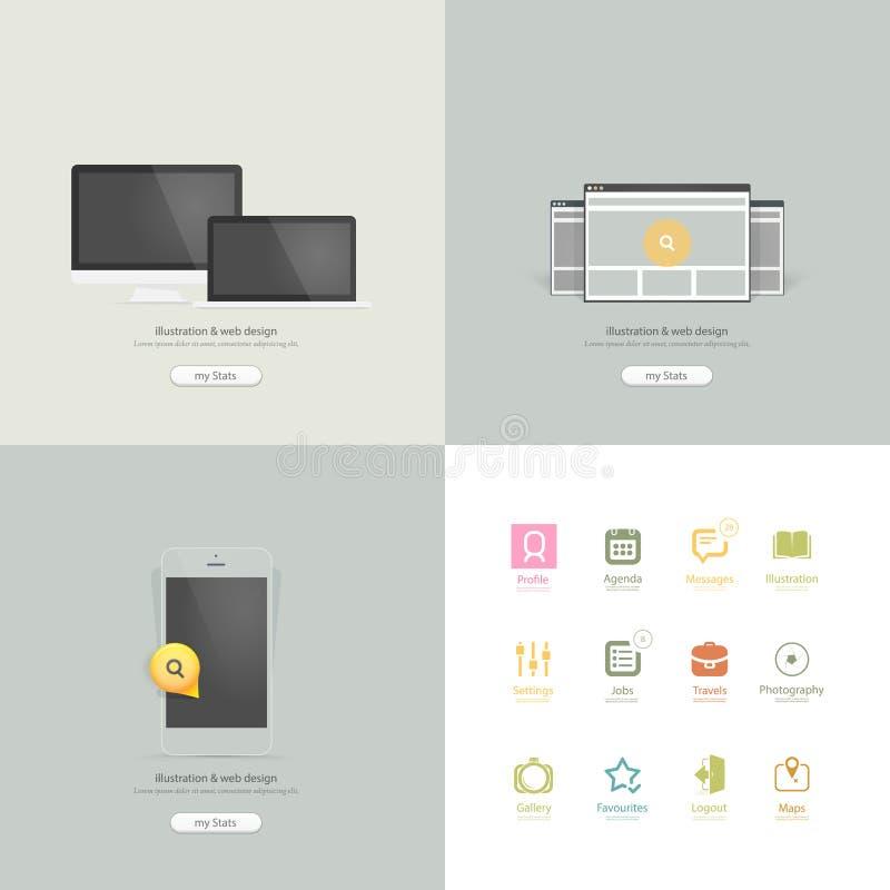 Infographics beståndsdelar: Samling av färgrika plana navigeringbeståndsdelar för sats UI med symboler för personlig portföljwebsi royaltyfri illustrationer