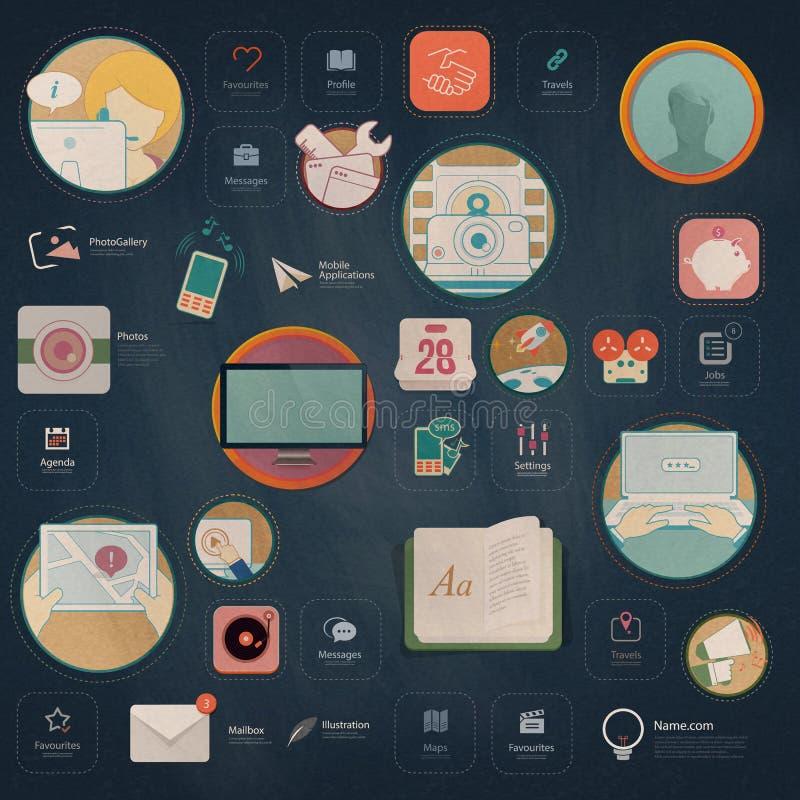 Infographics beståndsdelar: Samling av färgrika plana navigeringbeståndsdelar för sats UI med symboler för personlig portföljwebs stock illustrationer