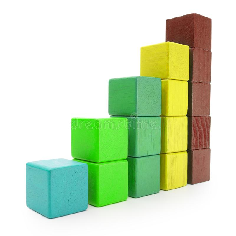 Infographics-Block-Diagramm, Infograph-Stange der Farbe Toy Cubes stockfotografie
