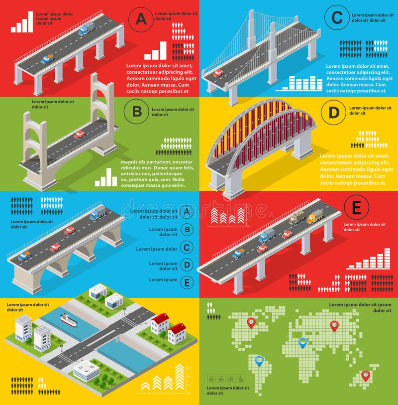Infographics of bridges in the field stock illustration