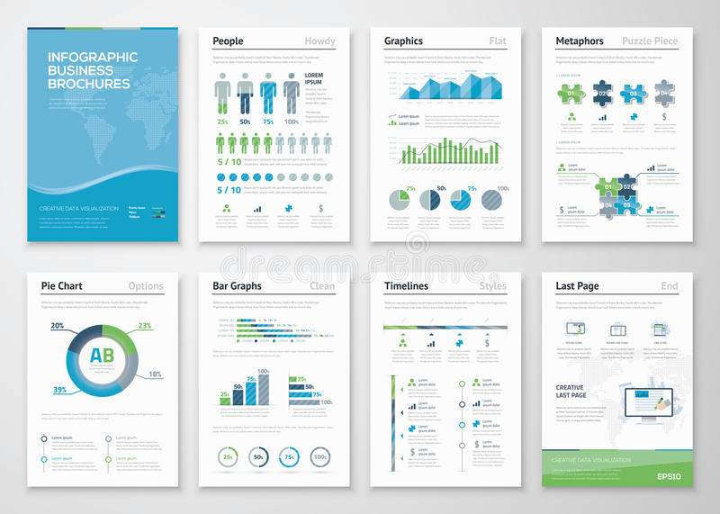 Infographics brochure elements for business data visualization stock illustration