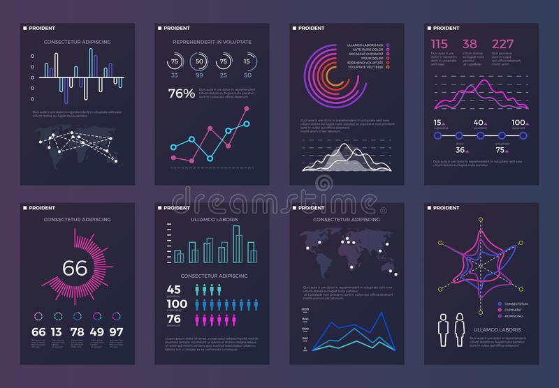 Infographics, brochures vector templates for business reports with line charts and diagrams royalty free illustration