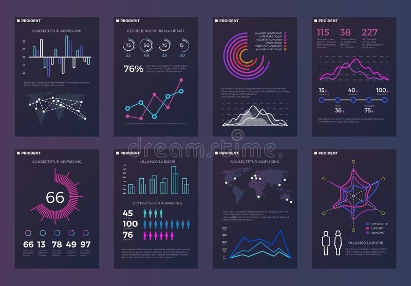 Infographics, brochures vectormalplaatjes voor bedrijfsrapporten met lijngrafieken en diagrammen royalty-vrije illustratie