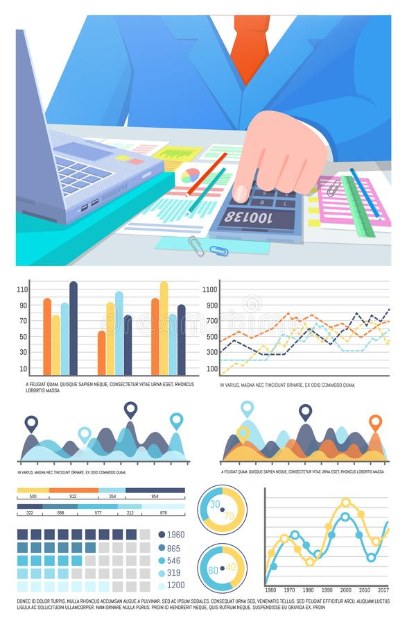Infographics and Business man Calculating Info. Infographics and businessman calculating info vector. Research analyzed information by businessman. Worker with stock illustration